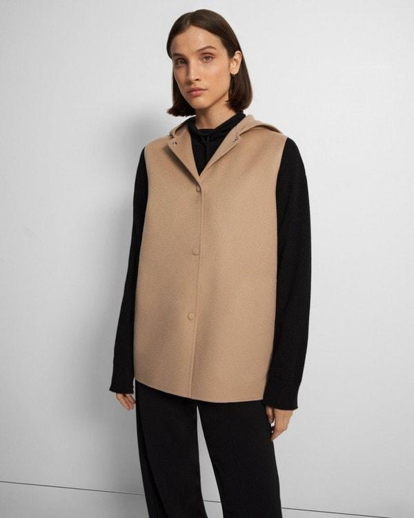 띠어리 조끼 Theory Clairene Vest in Double-Face Wool-Cashmere,PALOMINO