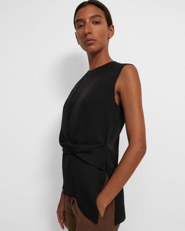 띠어리 민소매탑 Theory Sleeveless Twist Top in Silk Georgette,BLACK