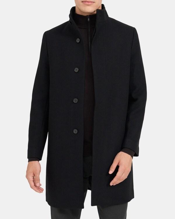띠어리 맨 싱글 코트 Theory Single-Breasted Coat in Wool Menton,BLACK