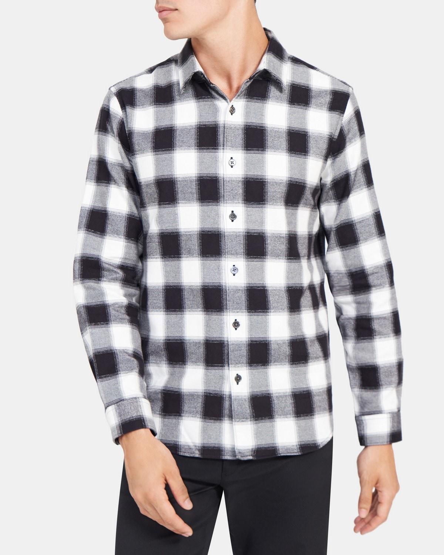 띠어리 맨 플레이드 셔츠 Theory Long-Sleeve Shirt in Plaid,BLACK/WHITE