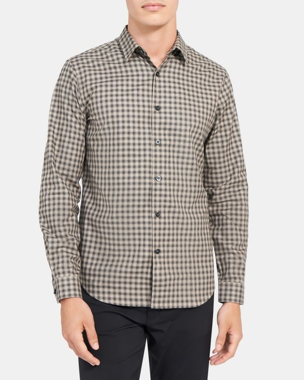 띠어리 맨 래미 셔츠, 옴브레 체크 코튼 Theory Rammy Shirt in Ombre Checked Cotton,BARK MULTI