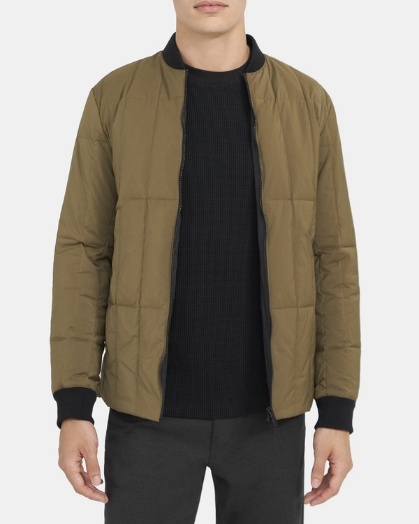 띠어리 맨 다운 필드 봄버 자켓 Theory Down-Filled Bomber Jacket in Quilted Polyester,FAWN