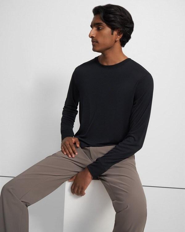 띠어리 티셔츠  Theory Long-Sleeve Essential Tee in Modal Jersey,BLACK