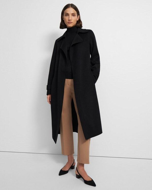 띠어리 우먼 트렌치 코트 Theory Long Oaklane Trench Coat in Cashmere,BLACK