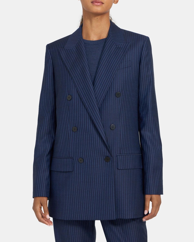 띠어리 스트레이트 더블 자켓 Theory Straight Double-Breasted Jacket in Striped Wool,NAVY SAPPHIRE STRIPE