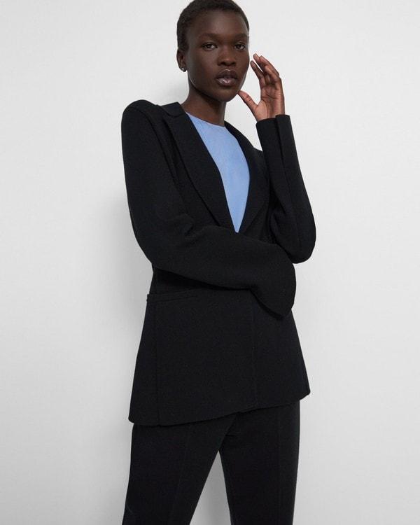 띠어리 Theory Etiennette Blazer in Empire Wool,BLACK