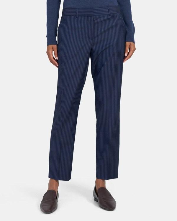 띠어리 우먼 클래식 크롭 팬츠 Theory Classic Crop Pant in Striped Wool,NAVY SAPPHIRE STRIPE