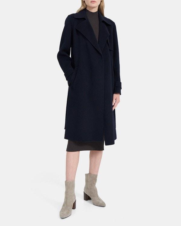 띠어리 우먼 릴렉스드 트렌치 코트 Theory Relaxed Trench Coat in Double-Face Wool-Cashmere,NOCTURNE NAVY