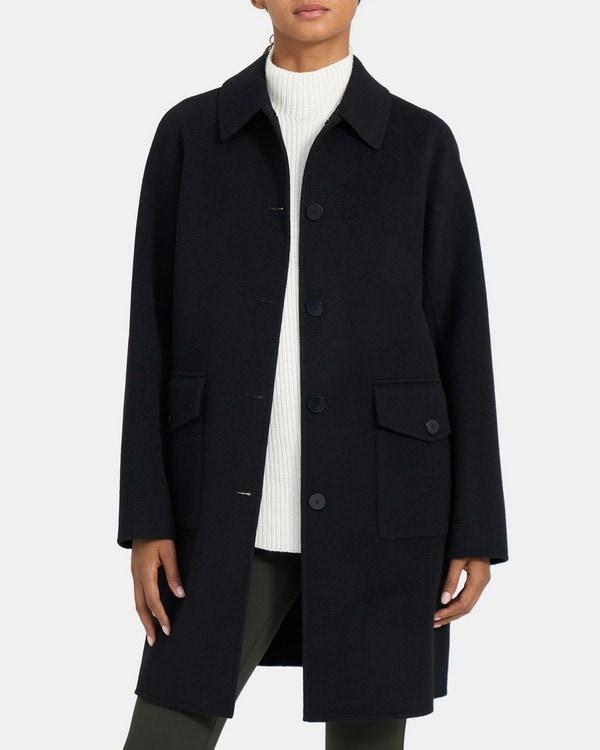 띠어리 우먼 릴렉스드 코트 Theory Relaxed Coat in Double-Face Wool-Cashmere,BLACK