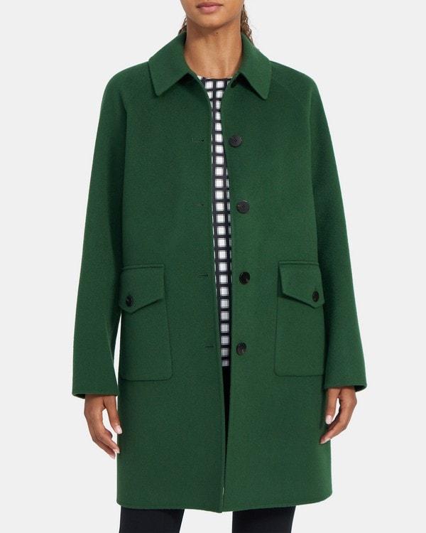 띠어리 우먼 릴렉스드 코트 Theory Relaxed Coat in Double-Face Wool-Cashmere,CLOVER