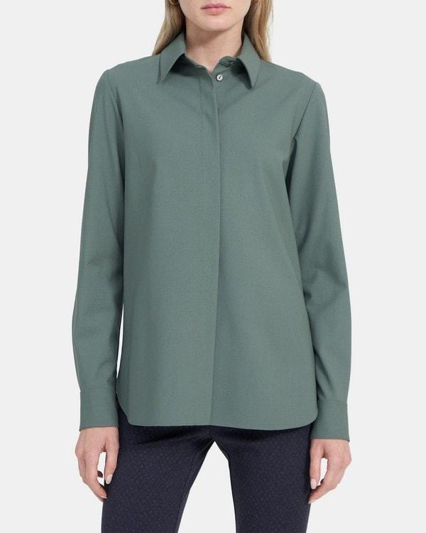 띠어리 클래식 스트레이트 셔츠리 Theory Classic Straight Shirt in Stretch Wool,PALE GREY MOSS
