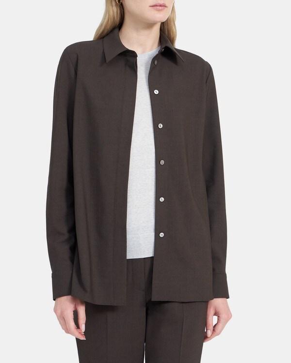 띠어리 클래식 스트레이트 셔츠 Theory Classic Straight Shirt in Stretch Wool,MOCHA