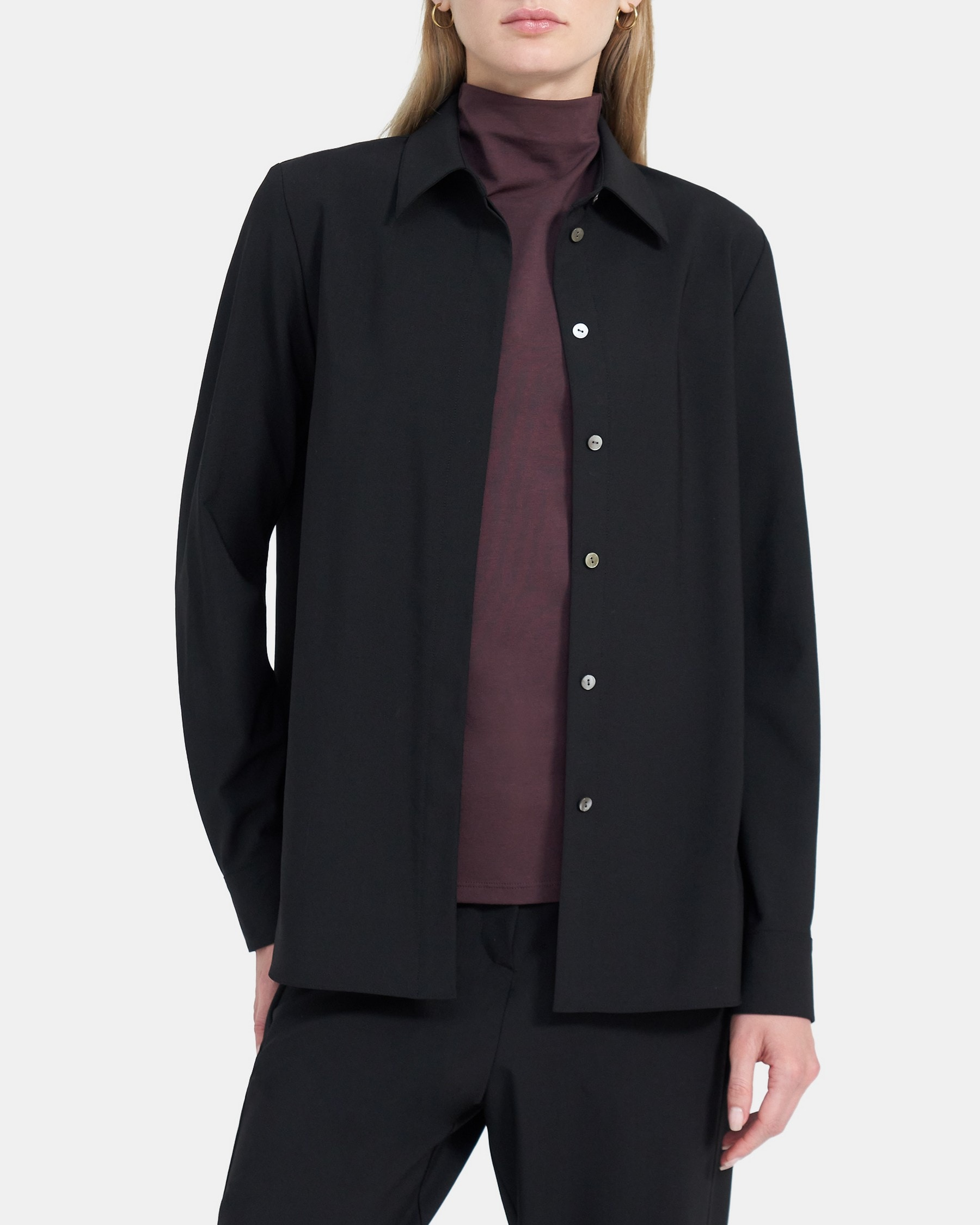 Theory Classic Straight Shirt in Stretch Wool