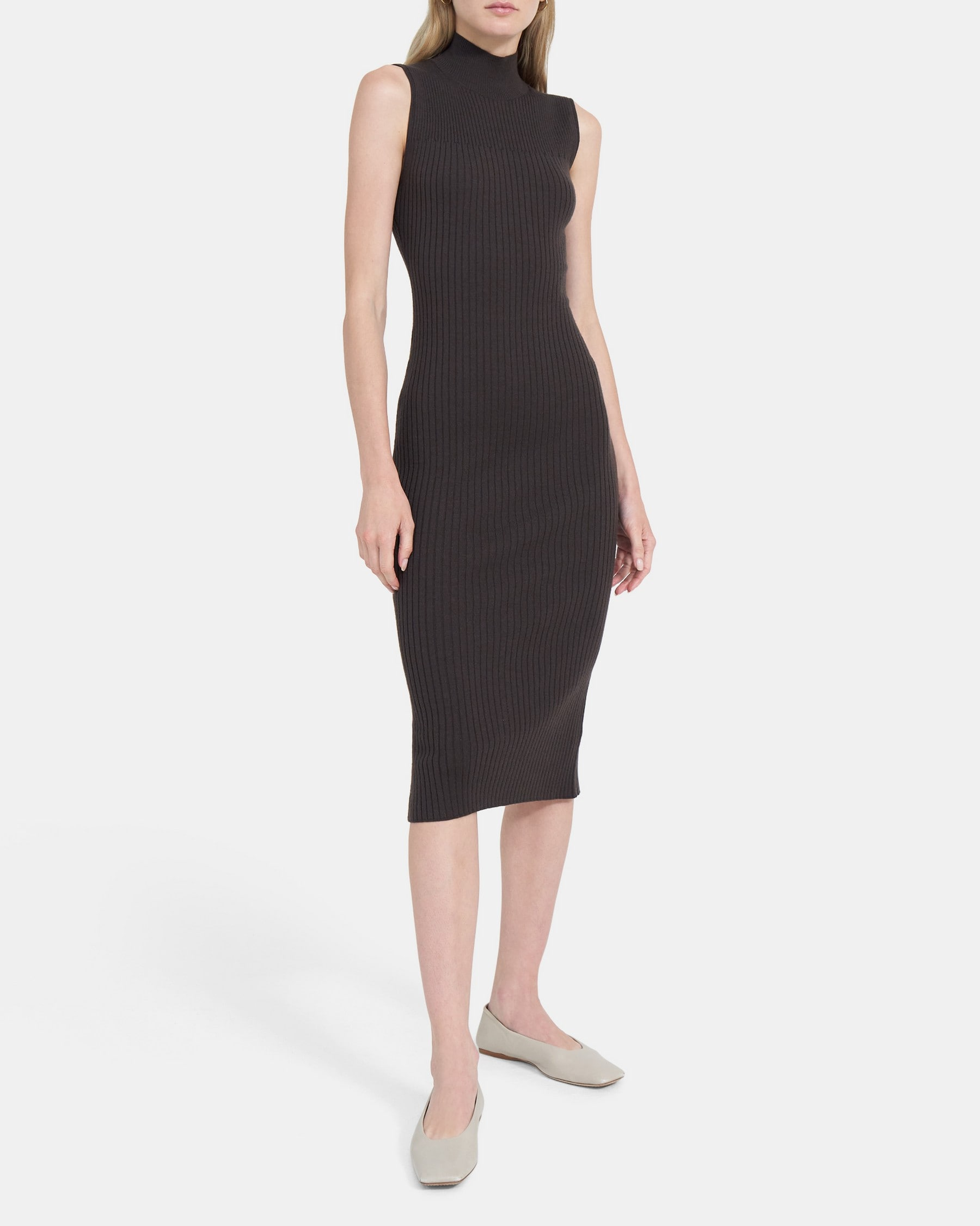 Theory Turtleneck Ribbed Maxi Dress in Stretch Wool