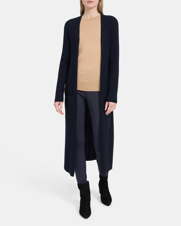 Theory Ribbed Maxi Cardigan in Stretch Wool