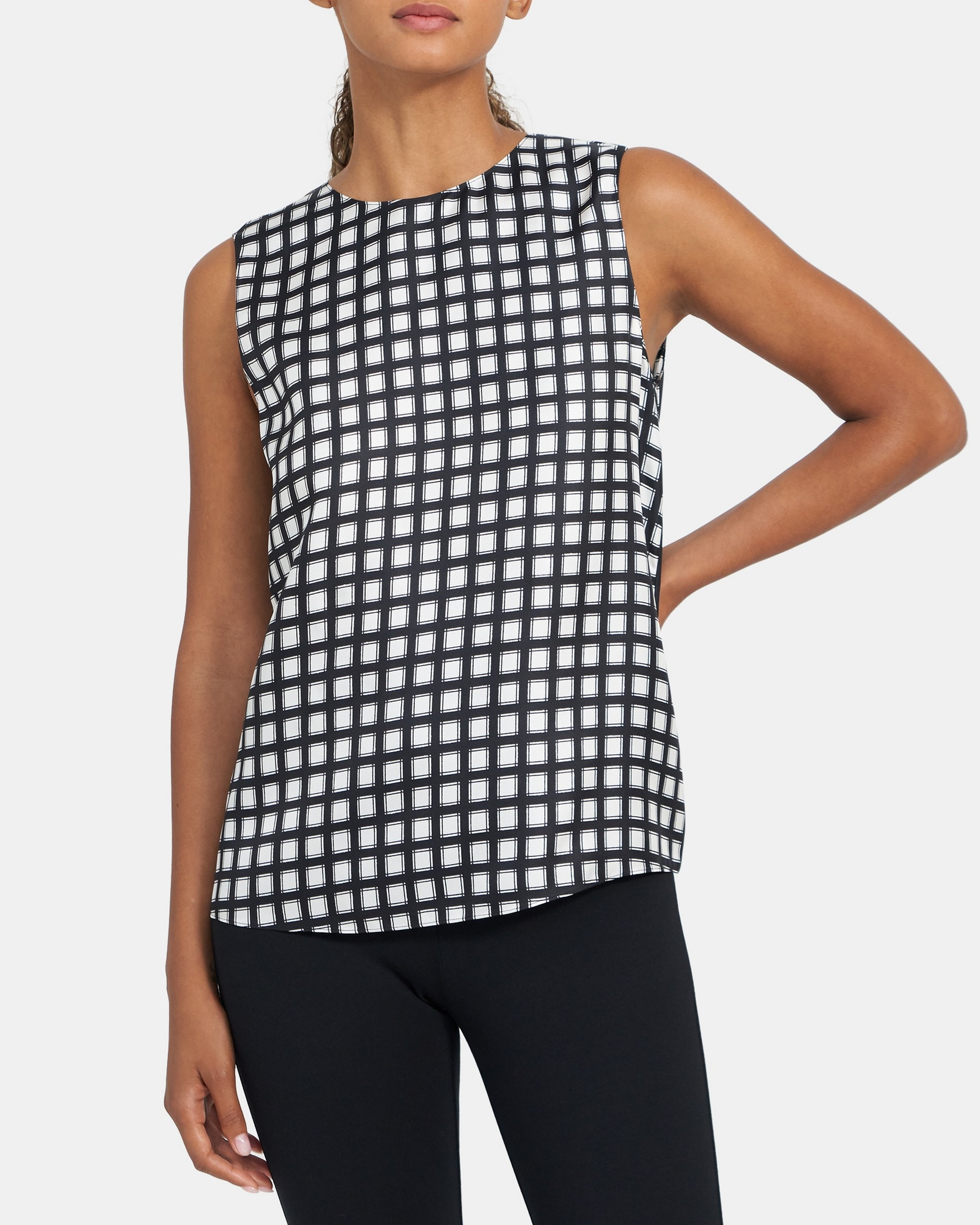 Theory Straight Shell Top in Checked Silk Twill