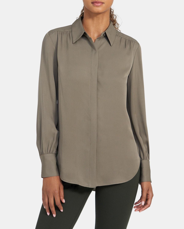 띠어리 쉬어드 셔츠, 100% 실크 Theory Shirred Button-Down in Silk,DK SMOKE