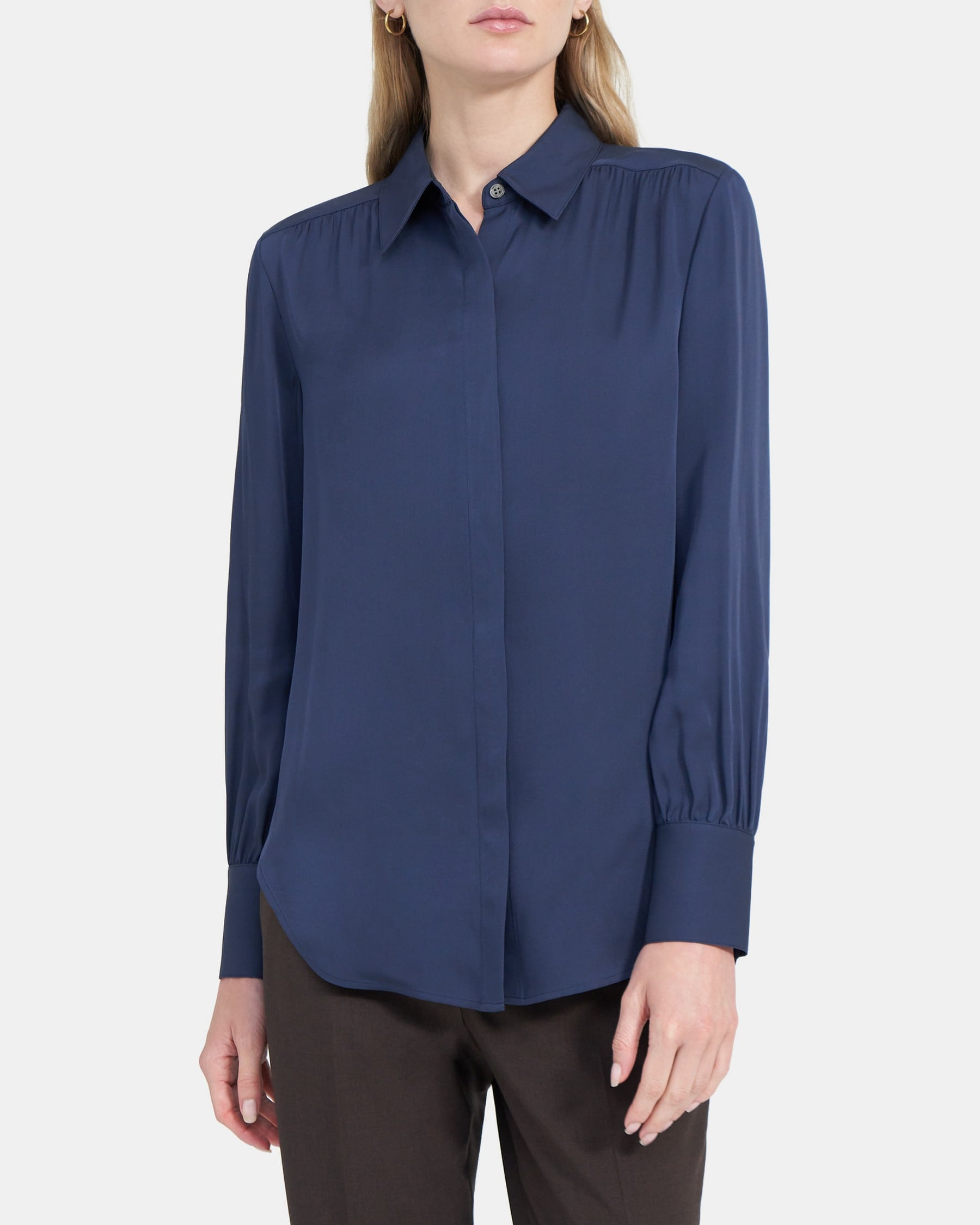 Theory Shirred Button-Down in Silk