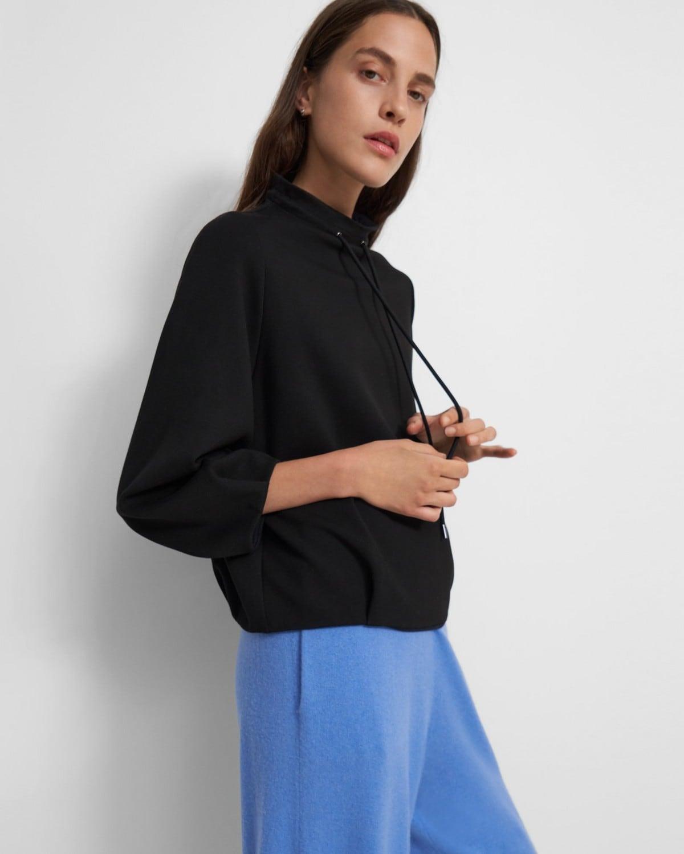 띠어리 Theory Drawstring Pullover in Double-Knit Jersey,BLACK/NAVY