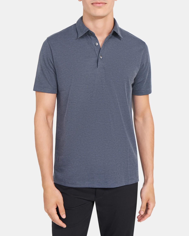 띠어리 맨 폴로 셔츠 Theory Polo Shirt in Micro Check Cotton,NAVY MULTI