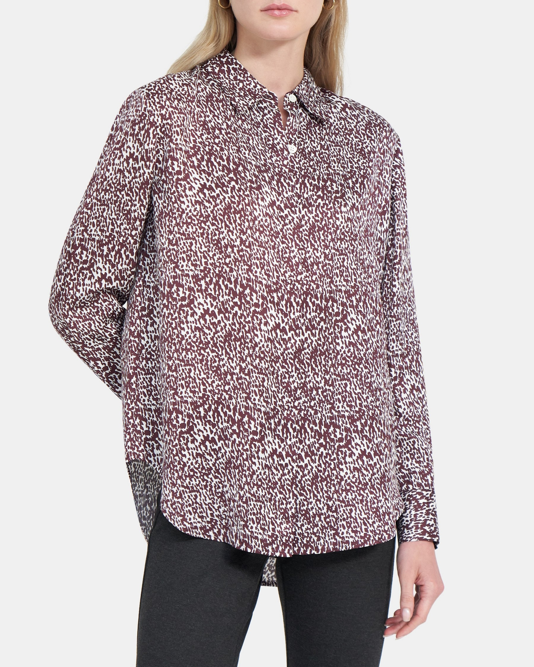 Theory Sunaya Shirt in Brushed Dot Viscose