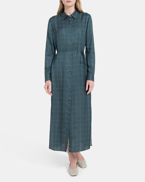 띠어리 우먼 벨티드 셔츠원피스 Theory Belted Shirtdress in Grid Viscose,P에트로 ETROL MULTI