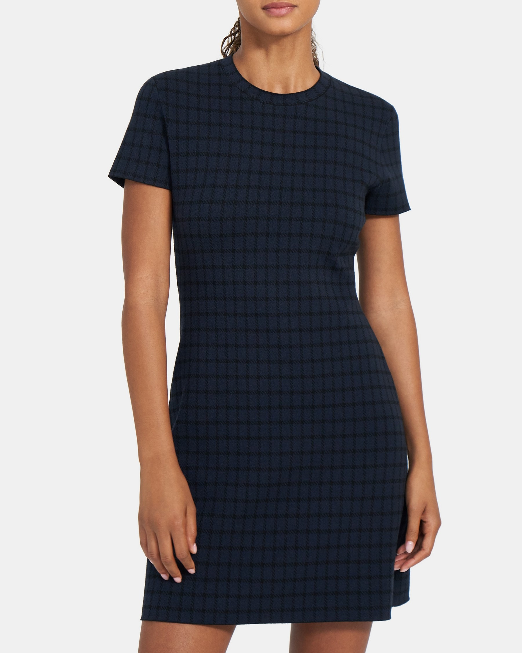Theory Flare Dress in Checked Stretch Viscose Knit