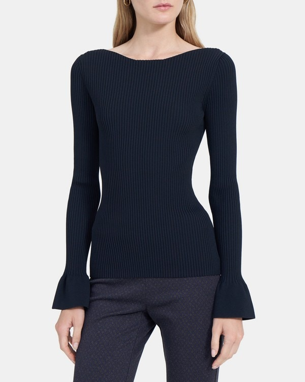 Theory Ribbed Boatneck in Compact Stretch Knit