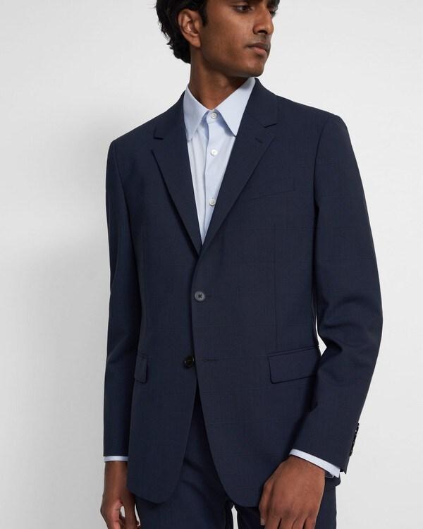 띠어리 맨 챔버스 자켓, 체크 스트레치 울 Theory Chambers Blazer in Checked Stretch Wool,NAVY