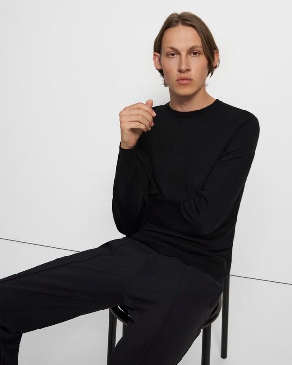 띠어리 니트탑 Theory Crewneck Sweater in Merino Wool,BLACK/TAPIR
