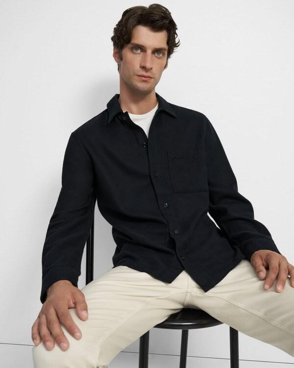 띠어리 맨 럭스 플란넬 트윌 셔츠 자켓 Theory Luxe Flannel Twill Shirt Jacket,BLACK